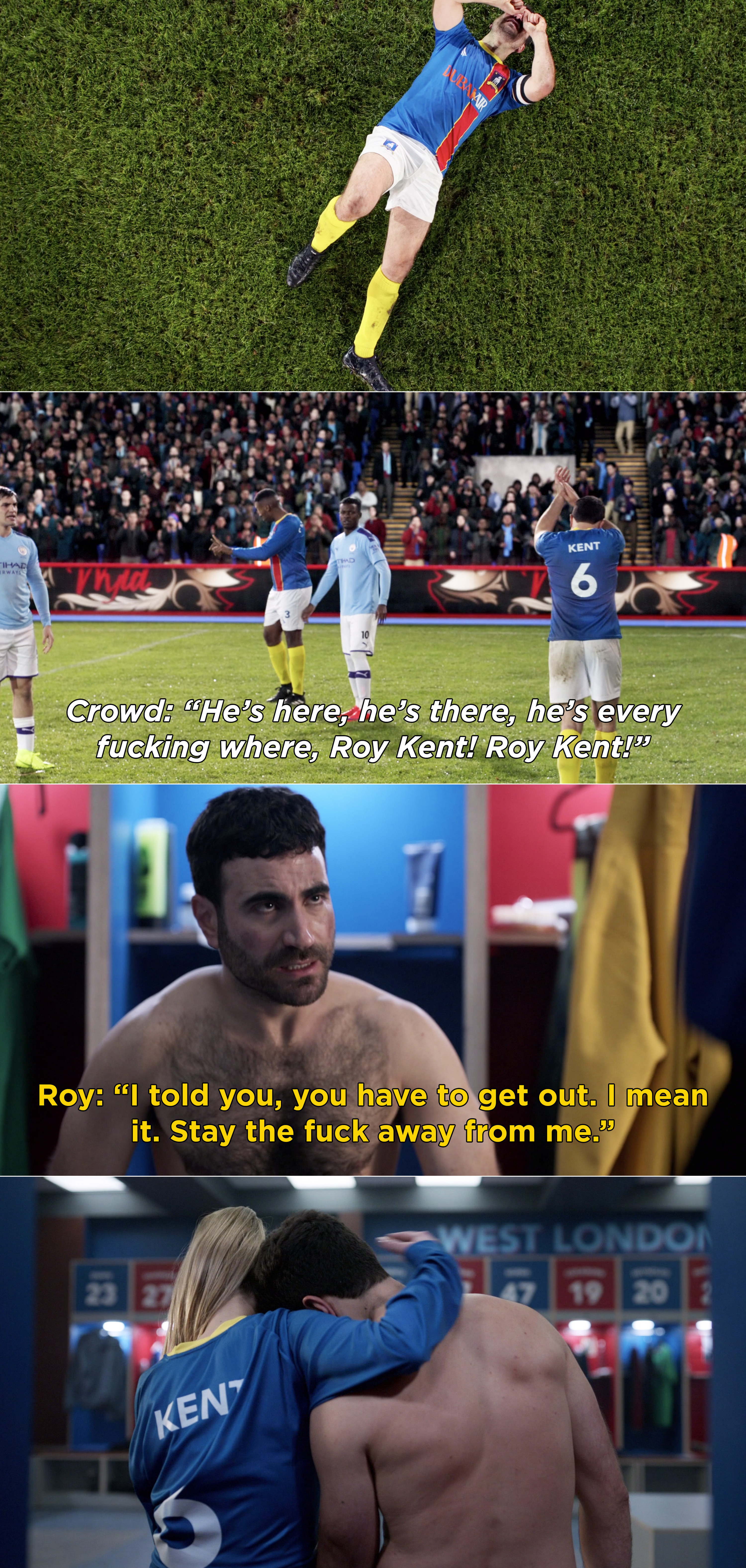 The crowd cheering for Roy after he gets injured, and Keeley sitting with Roy in the locker room