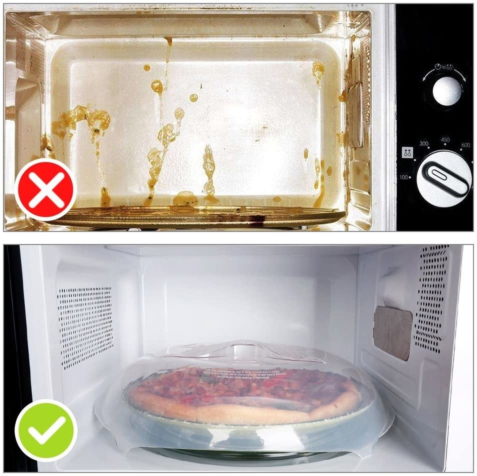 a split image with the top showing a gross microwave and the bottom showing a clean microwave with the clear, dome-like cover over a plate