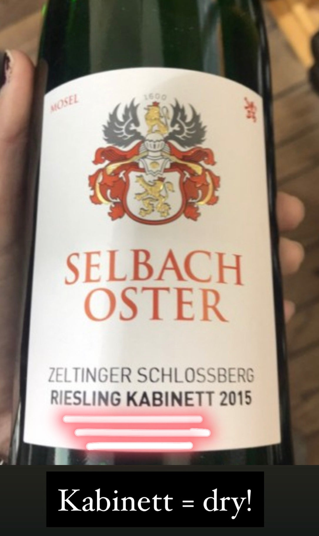 A bottle of Kabinett (dry) Riesling from Mosel, Germany.