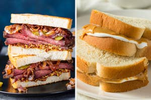 Side-by-side images of a pastrami sandwich and a fluffernutter