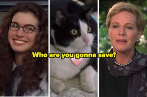 """Mia, Fat Louie, and Queen Clarisse from """"The Princess Diaries."""""""