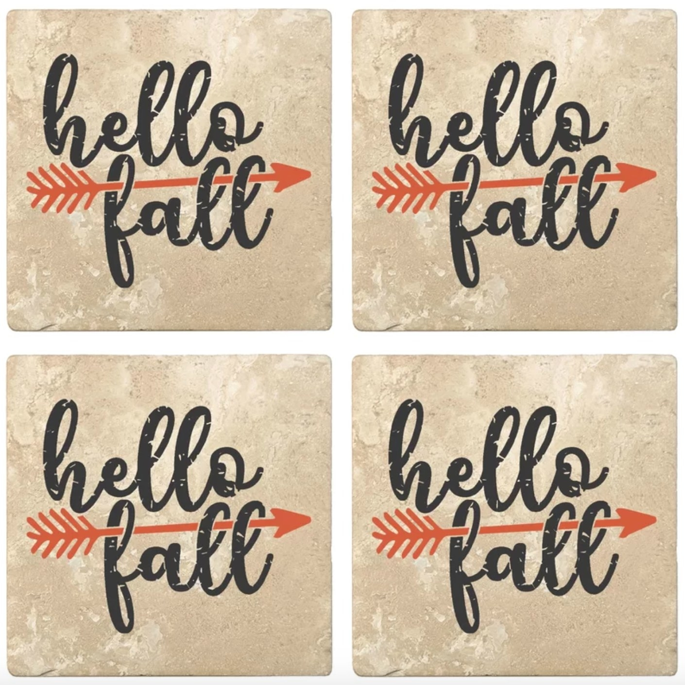 "The fall-themed coasters with ""Hello Fall"" in writing and an orange arrow"