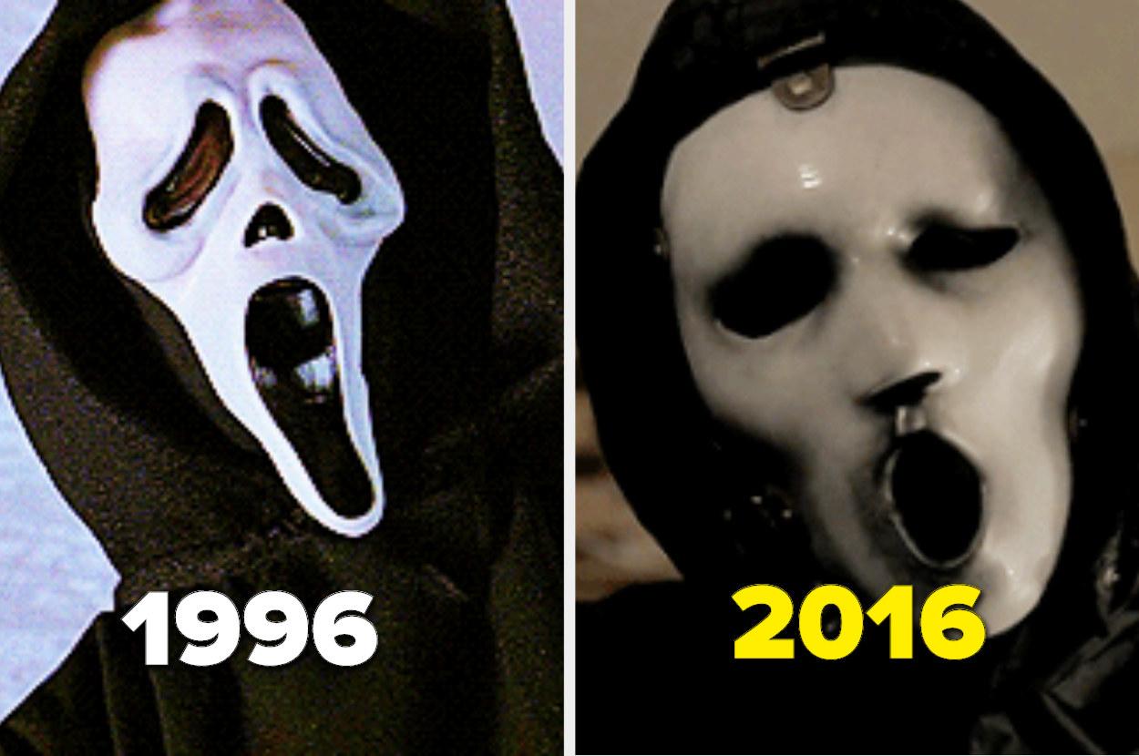 Original 1996 Ghostface mask alongside MTV's 2016 Ghostface mask
