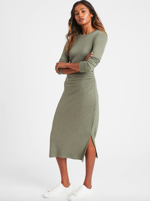 a model in the green dress