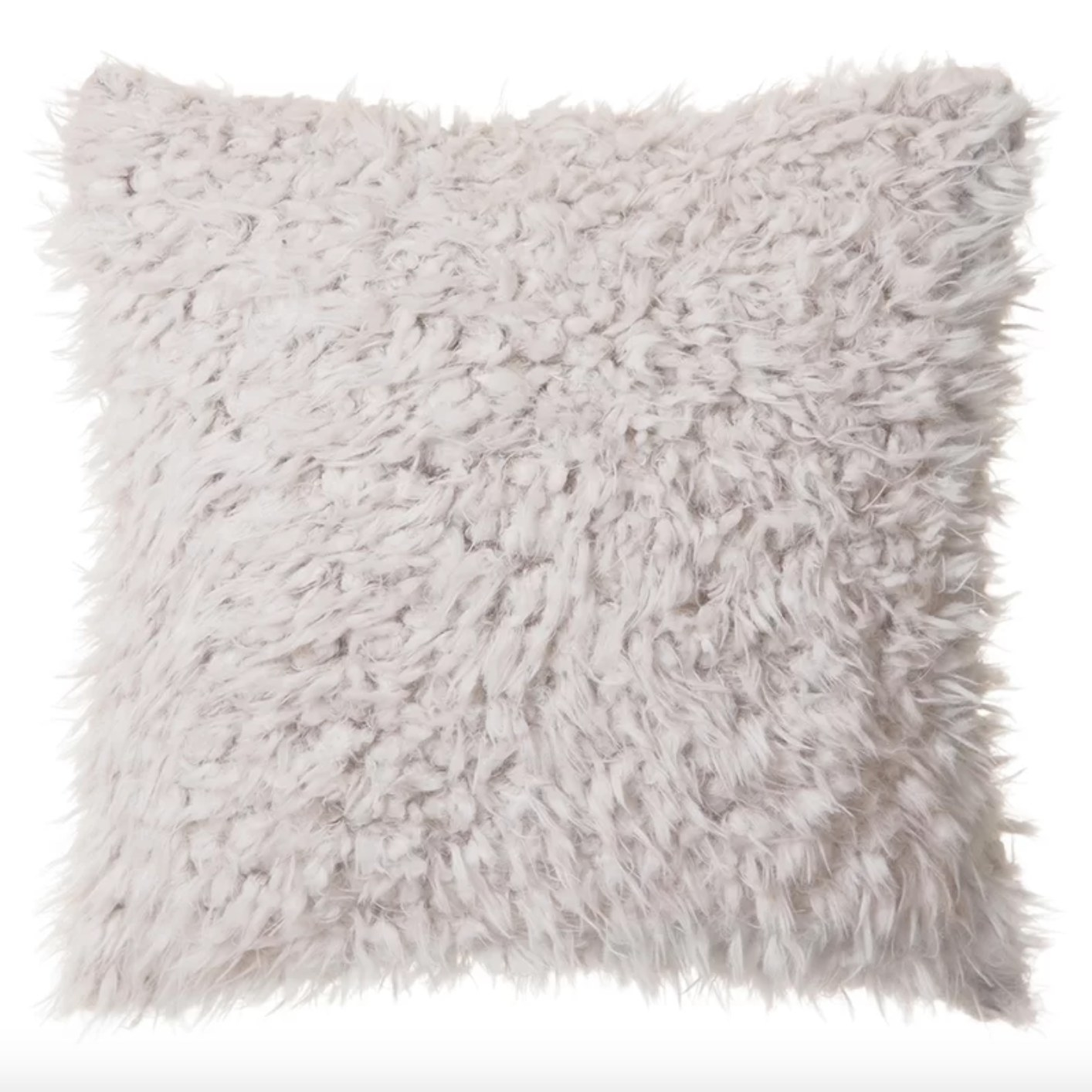 The faux fur throw pillow in white with a zipper enclosure