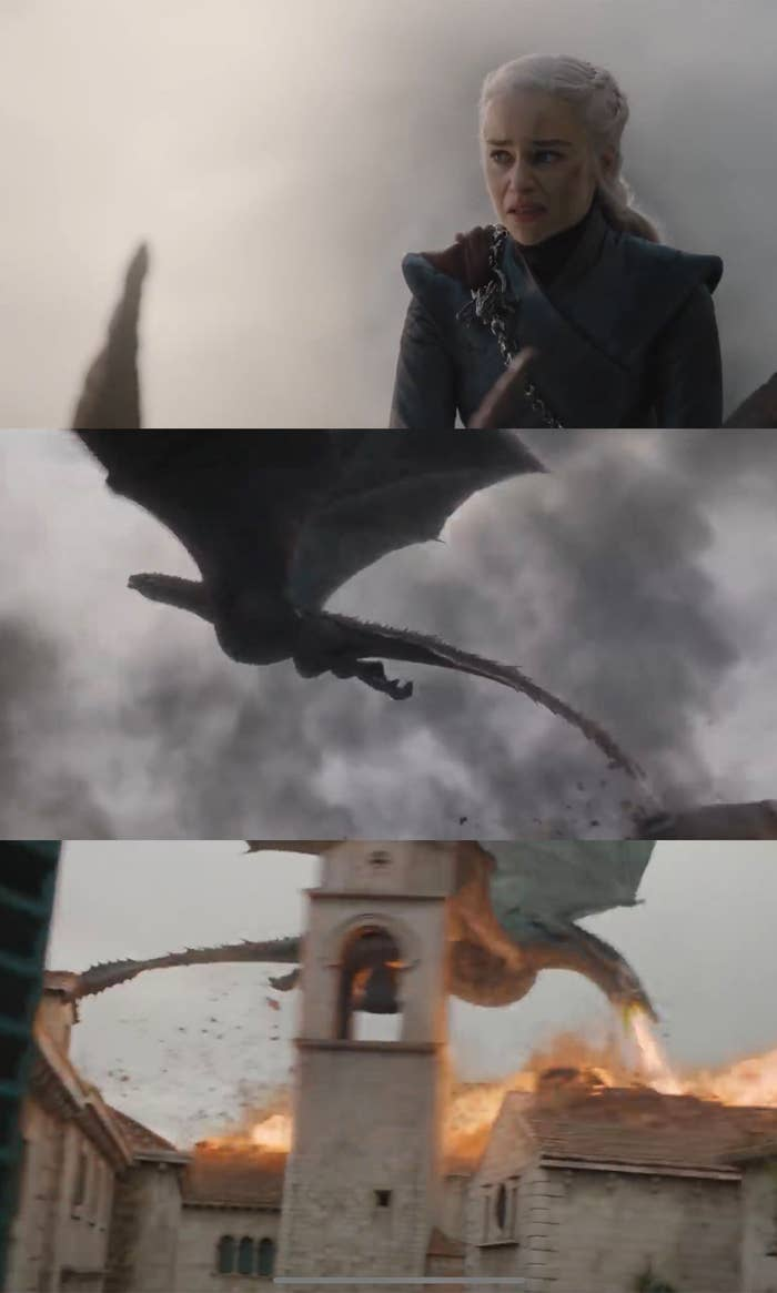 Daenerys burns King's Landing to the ground while riding her dragon
