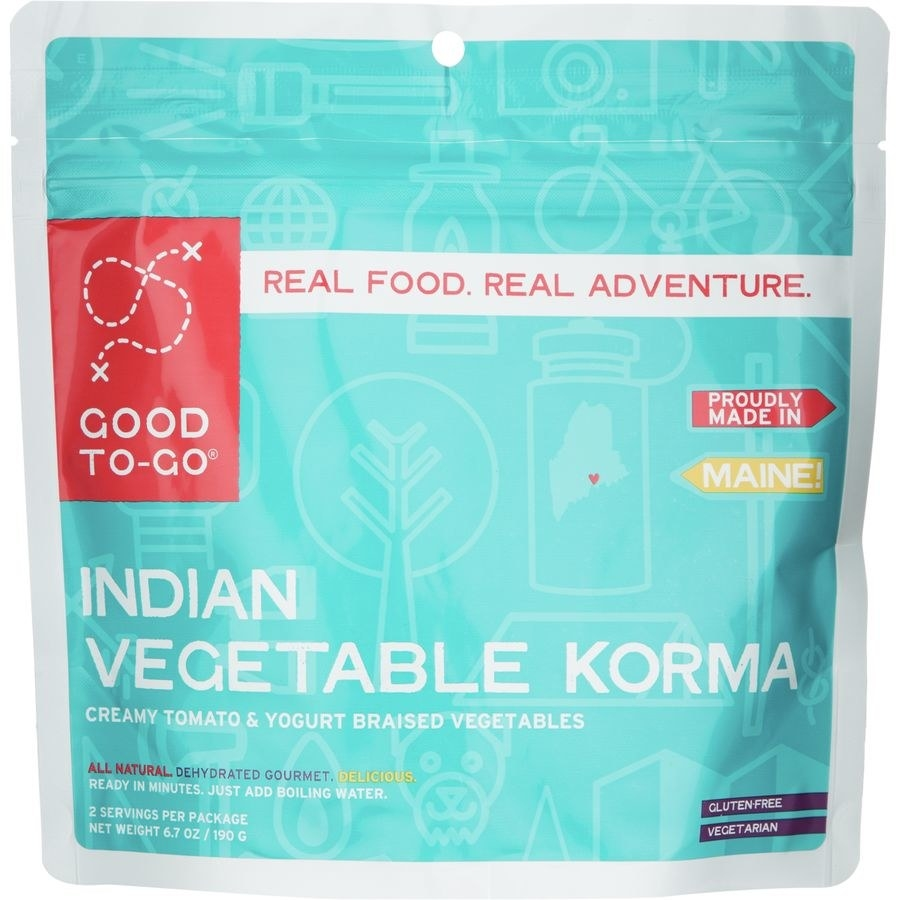 the vegetable korma made with creamy tomato, braised vegetables, and yogurt in a pouch