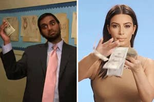 Tom Haverford and Kim Kardashian with money