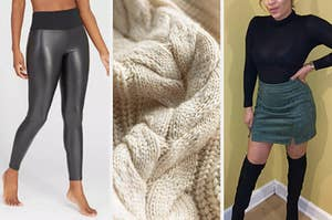 split thumbnail of person wearing faux leather leggings, closeup of cozy sweater, person wearing turtleneck and mini skirt