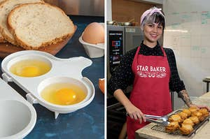 """to the left: two eggs in a microwave poacher, to the right: a model wearing a red """"star baker"""" apron"""