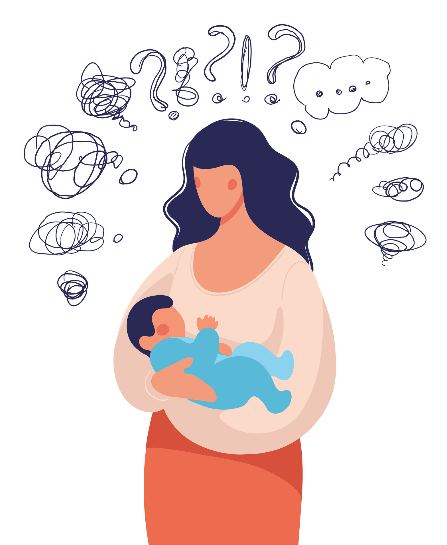 An illustration of a woman holding a baby and having sad and negative thoughts