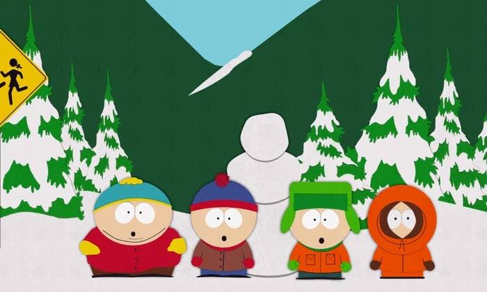 Cartman, Stan, Kyle, and Kenny at bus stop
