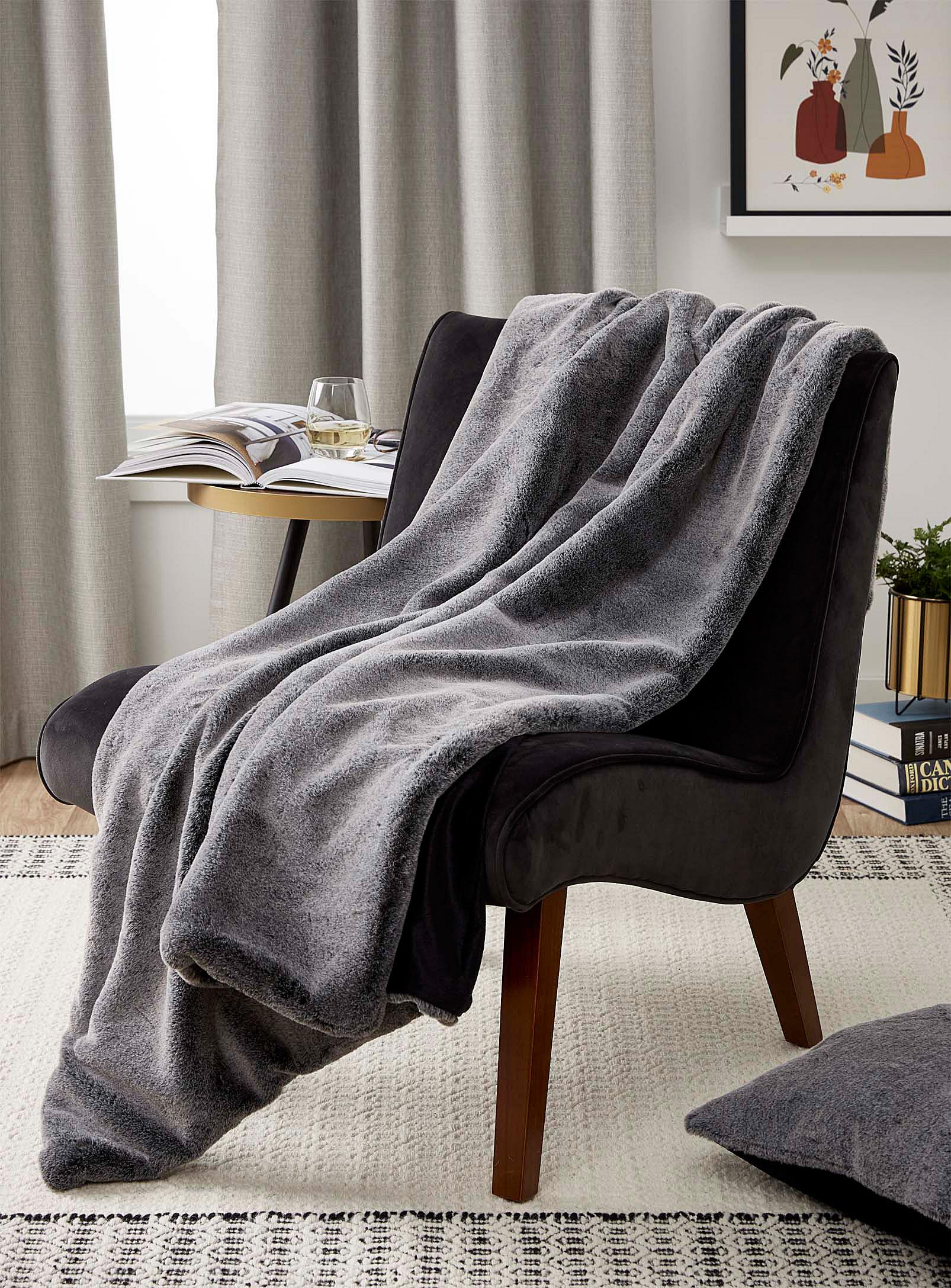 A fur throw over a chair