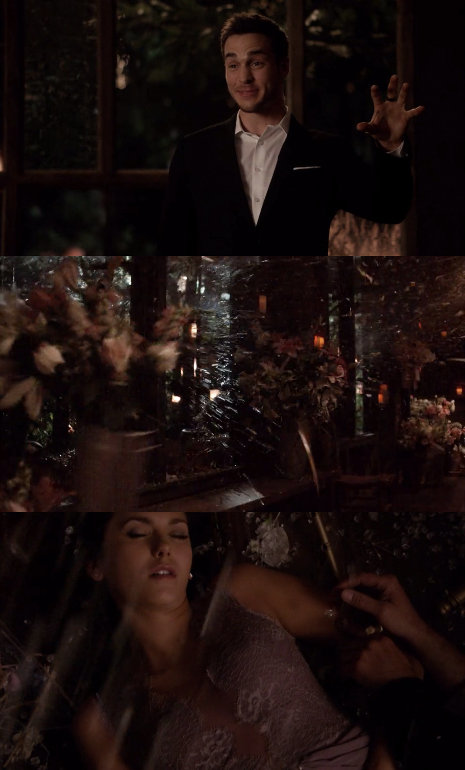 Kai magically shatters the windows, and the falling glass shard knock Elena unconscious