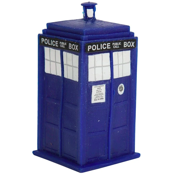 """Doctor Who"" Tardis-shaped squeeze stress toy that says ""police public call box"" on the side"