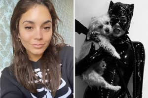 A selfie of Vanessa wearing a skeleton outfit next to her dressed as Catwoman