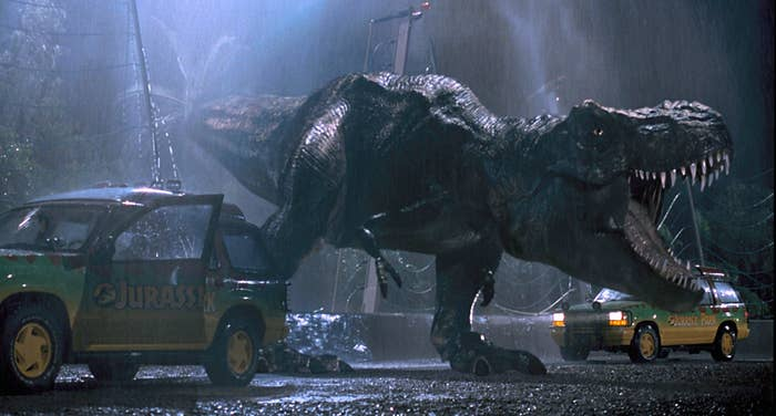The shot in Jurassic Park where the T-Rex escapes the cage and walks between the two tour SUVs