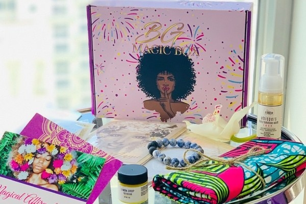a Black Girl Magic box with jewelry, bath and body products, and other featured items