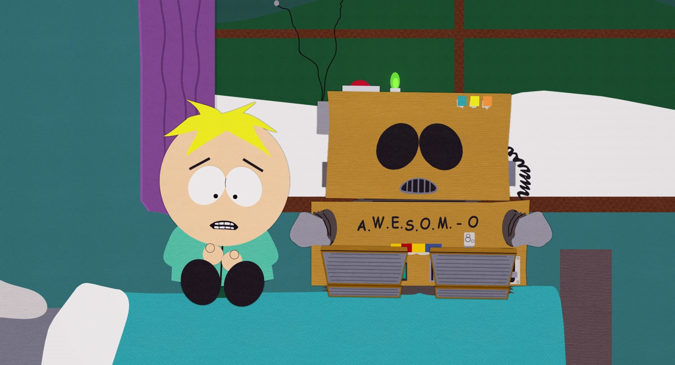 Awesom-O and Butters have a heart-to-heart