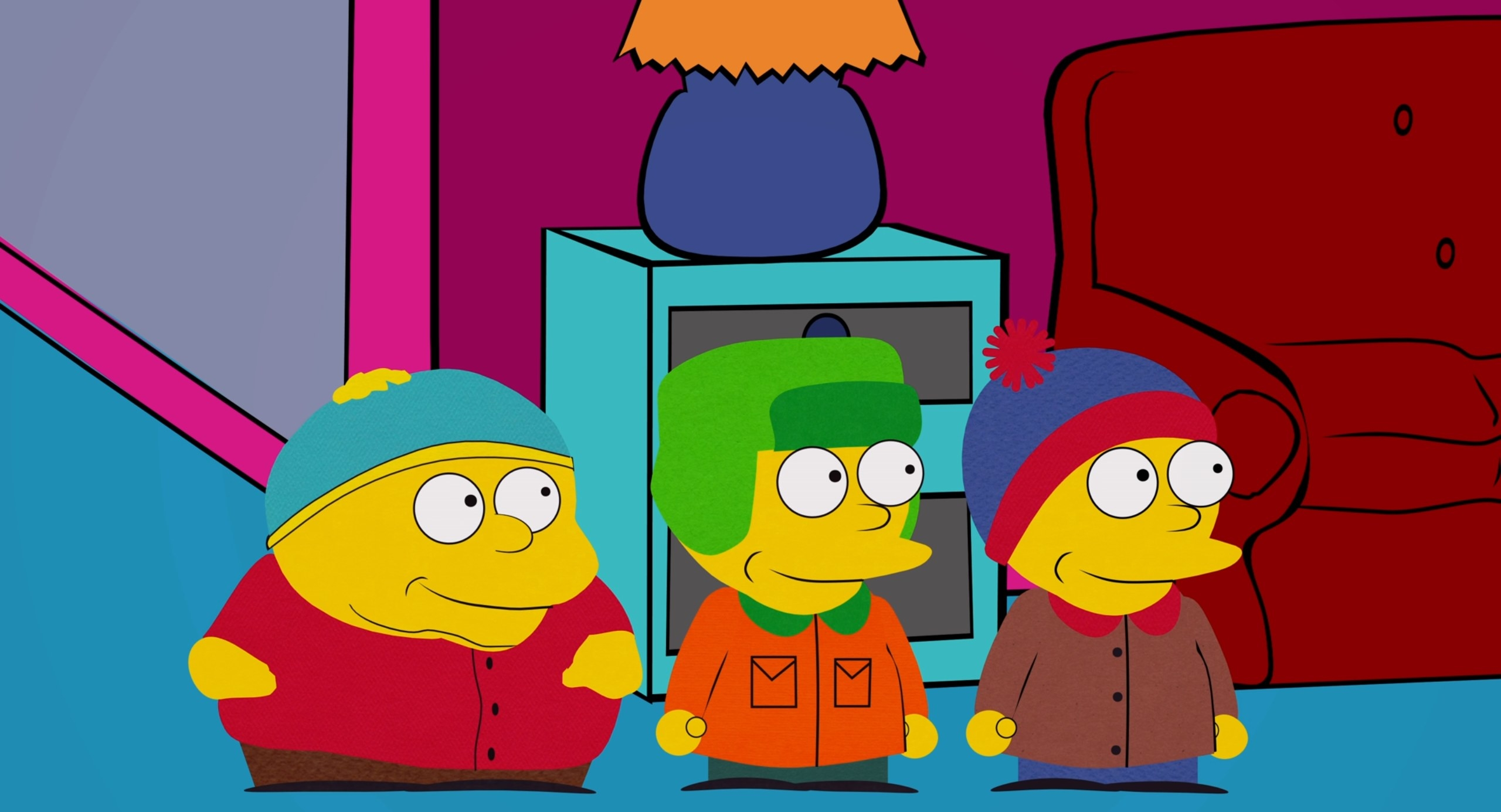 Cartman, Kyle, and Stan as Simpsons characters
