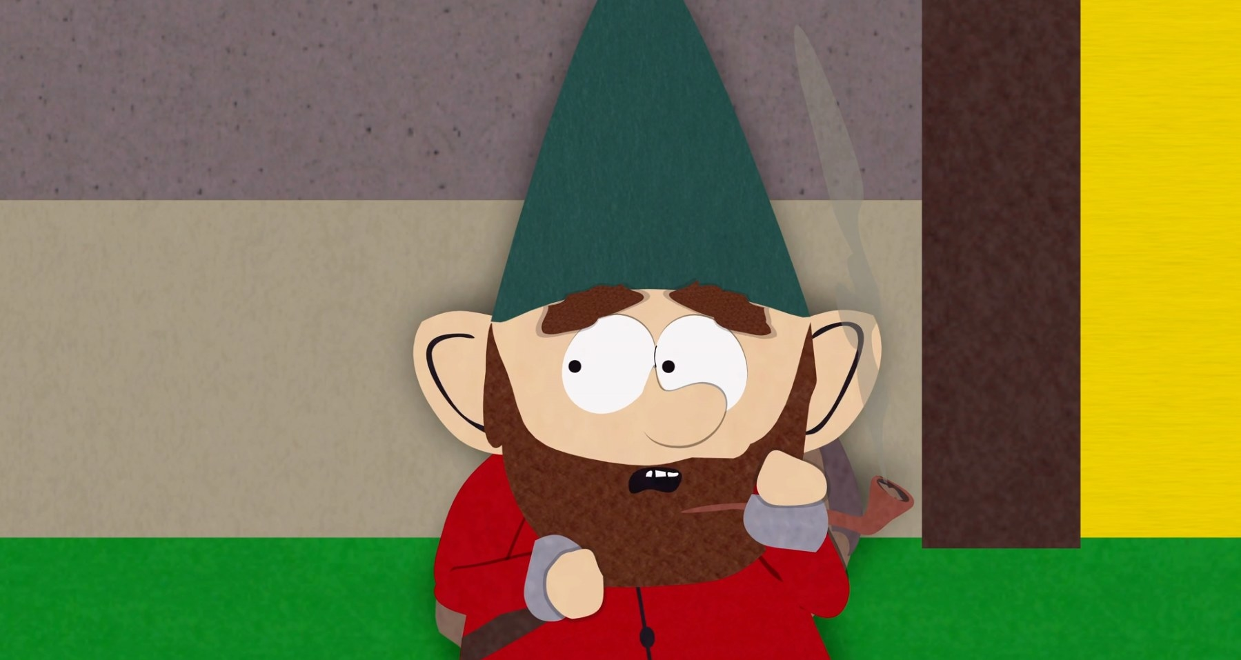 Underpants gnome smokes pipe