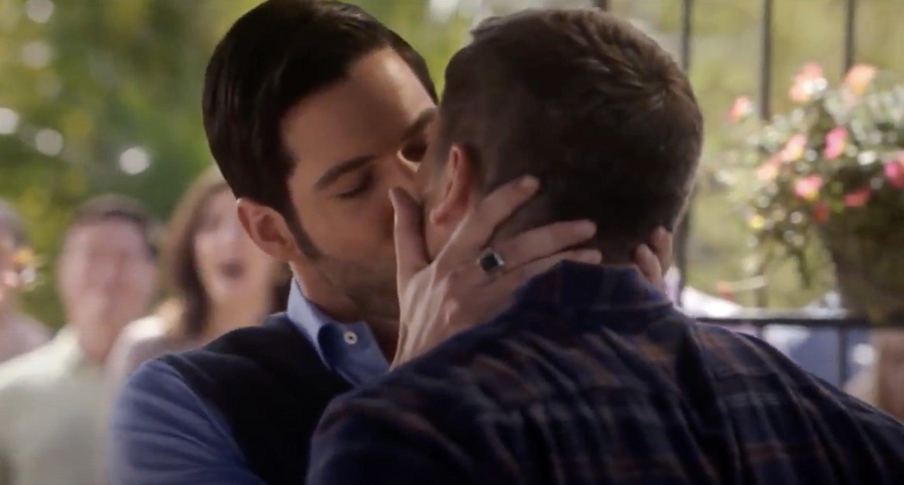 Lucifer grabbing Pierce's face and kissing him