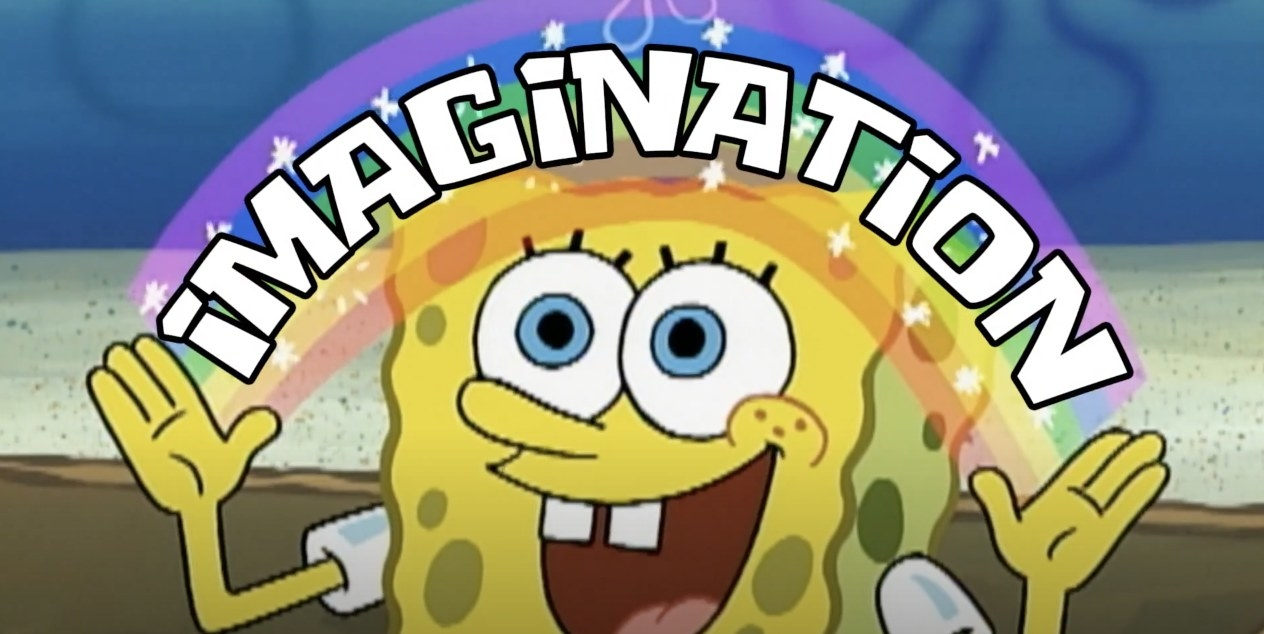 SpongeBob smiling with rainbow