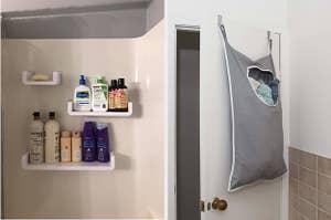 并排的三个漂浮的黏贴架在浴室里放着洗漱用品,还有一个挂在门上的篮子