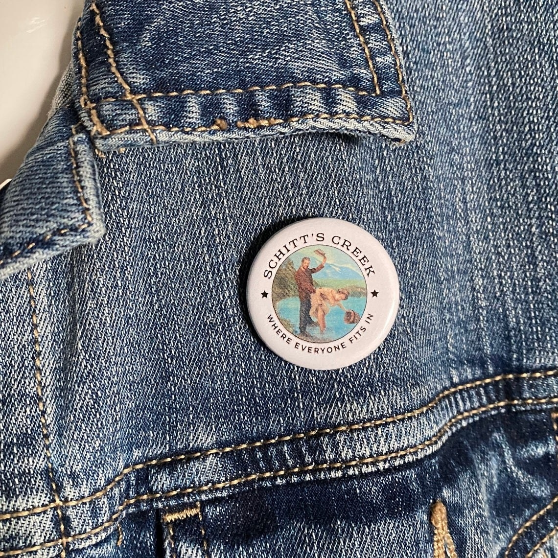 The button above the pocket on a jean jacket