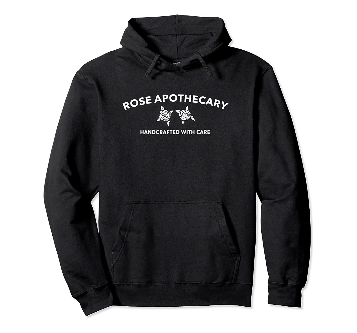 "The black hoodie with two roses and text ""Rose apothecary handcrafted with care"""