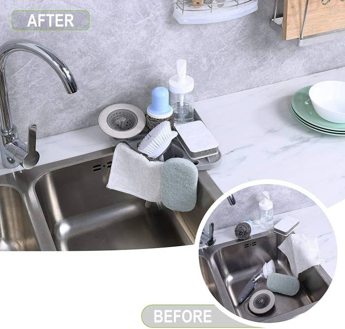 before of messy sink, then after with the organizer with everything very organized