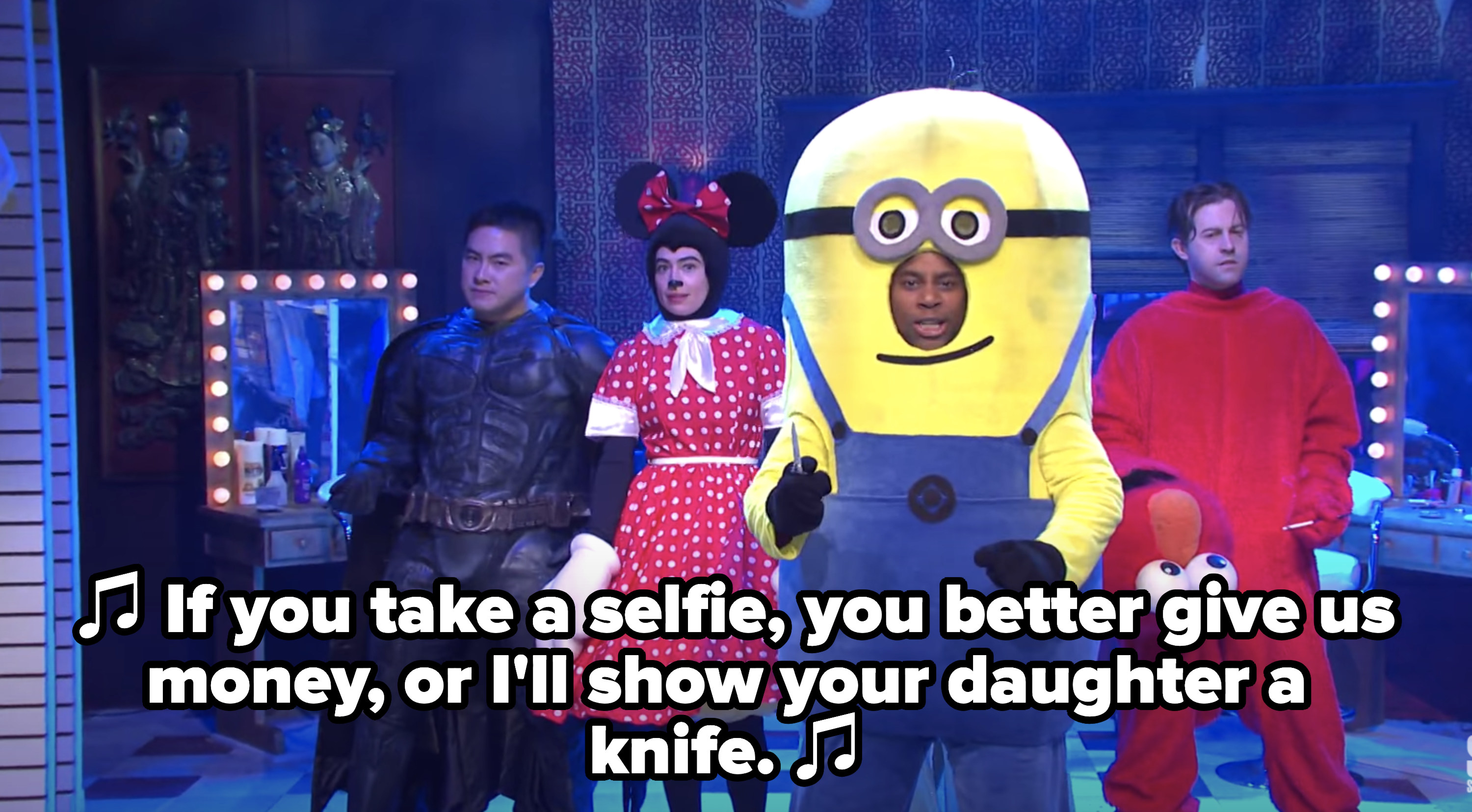 Minion singing that you better pay them if you take a selfie or they'll take out a knife