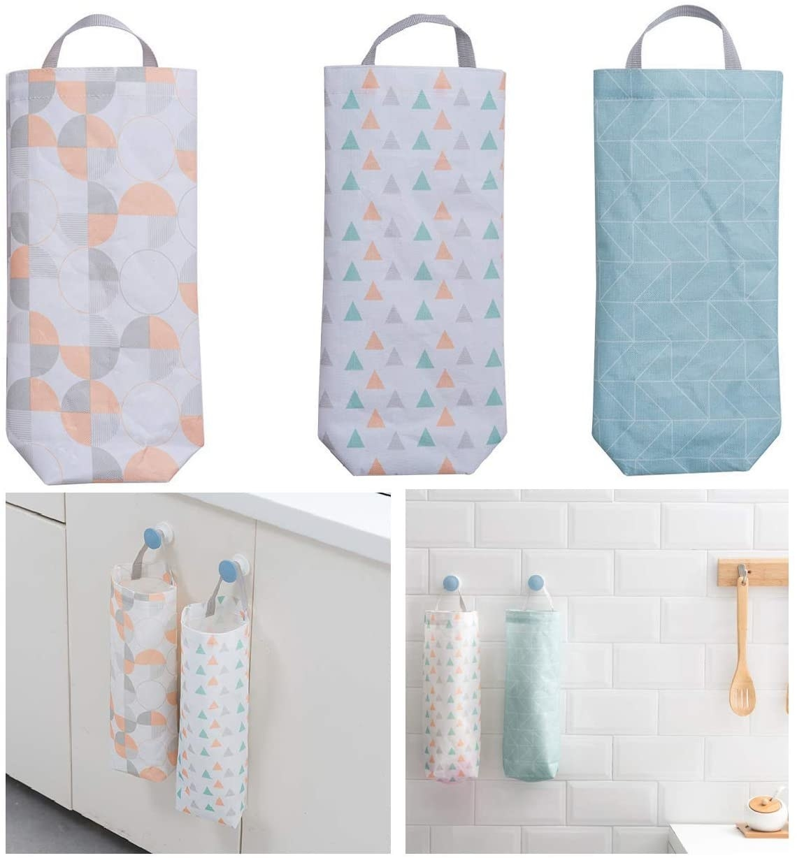 two hanging bag organizers with a hand pulling a grocery bag out of the bottom of one