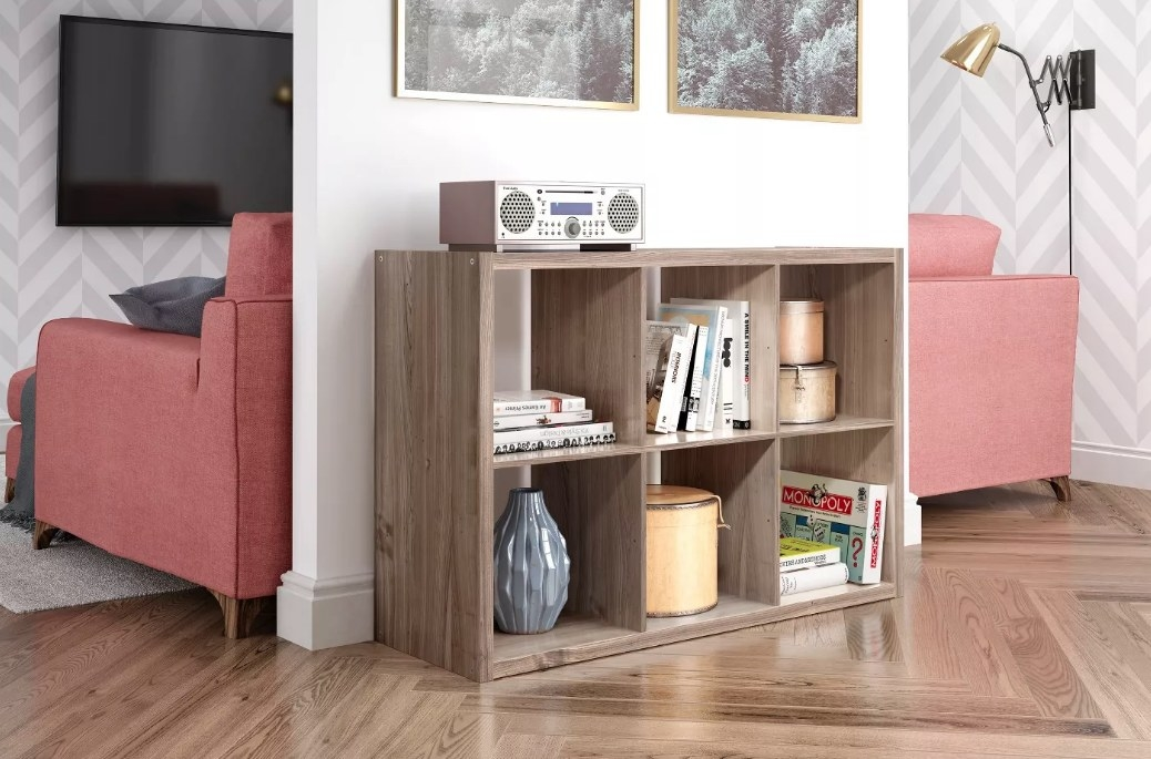 Bookshelf used as a console table