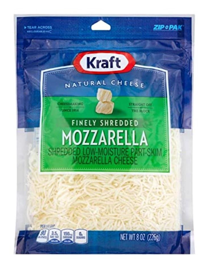 Bag of shredded mozzarella