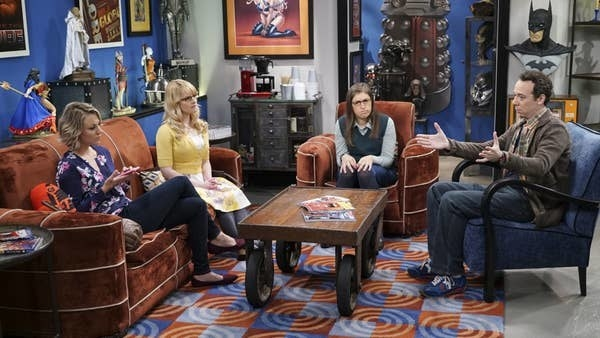 A still of Penny, Bernadette Rostenkowski-Wolowitz, Amy Farrah Fowler, and Sheldon Cooper in The Big Bang Theory