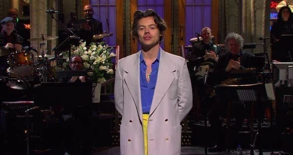 A still of Harry Styles hosting Saturday Night Live