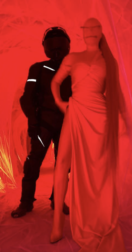 Kim Kardashian and Kanye West as red and black Balenciaga figures