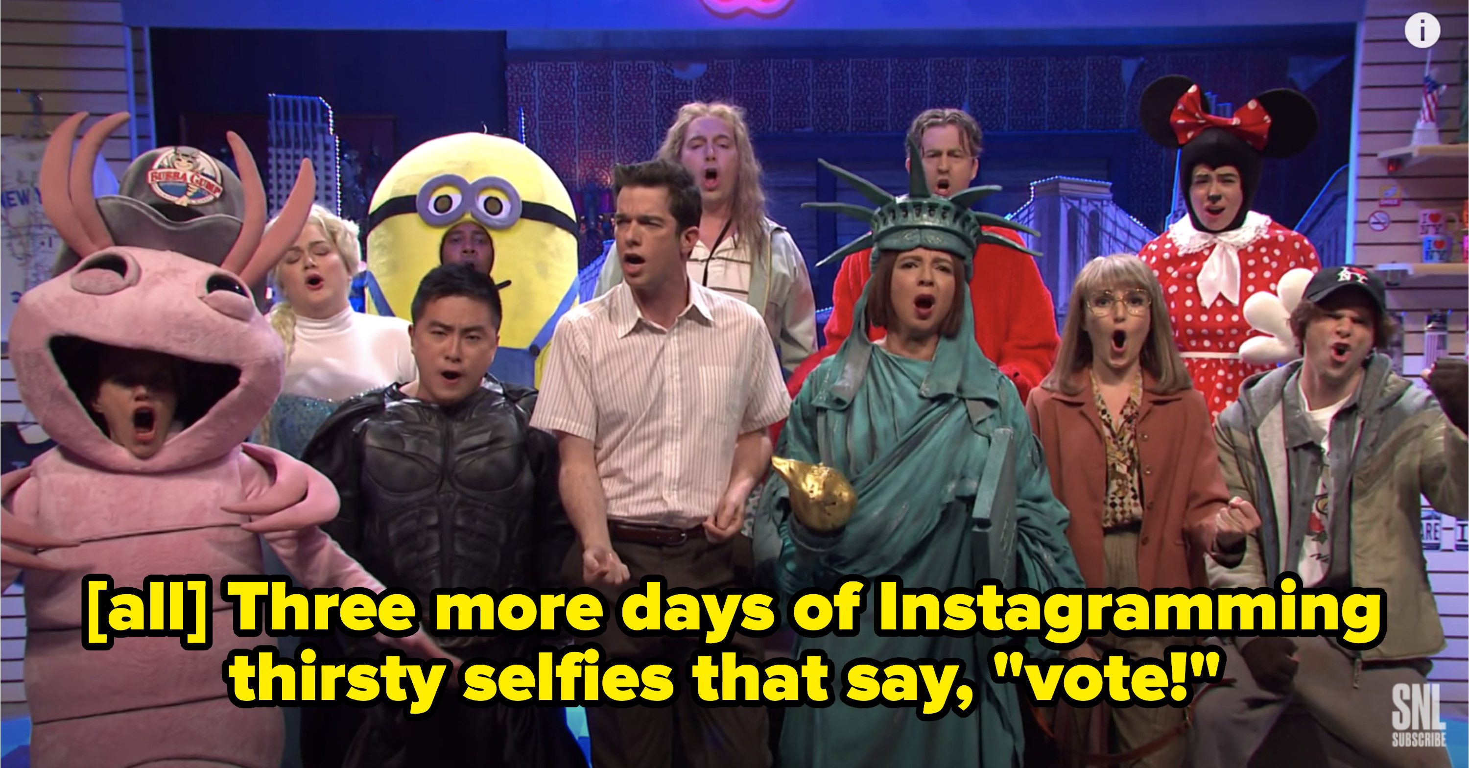 """All singing, 'Three more days of Instagramming thirsty selfies that say, 'vote'!"""""""