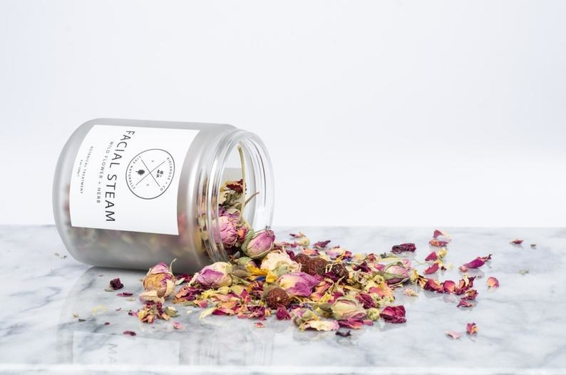 The jar tipped out to show the dried floral mix