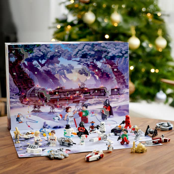 Advent calendar with Star Wars figurines on display for each day leading up to the holidays