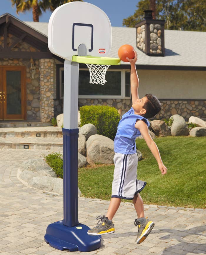 Plastic basketball hoop with sturdy base and extended hoop height