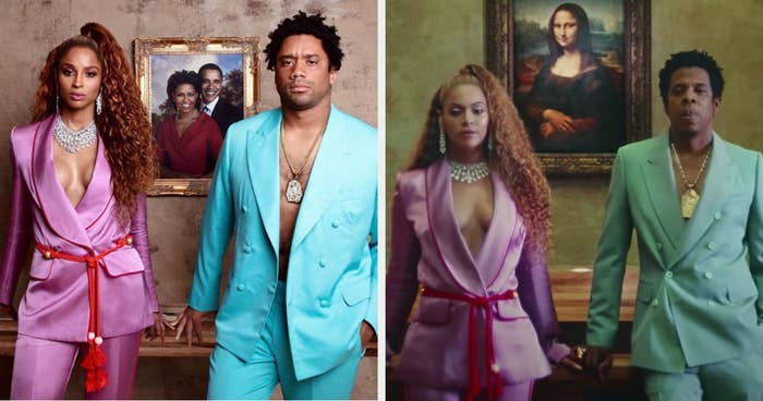 Ciara as Beyoncé and Russell as Jay-Z in front of a painting of the Obamas, and the real Beyoncé and Jay-Z in front of the Mona Lisa