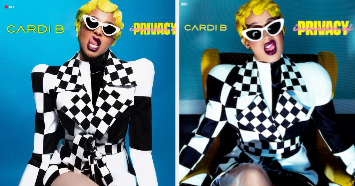 Ciara as Cardi B in a checkered blazer with her tongue out, and the real Cardi B in the same outfit with her tongue out