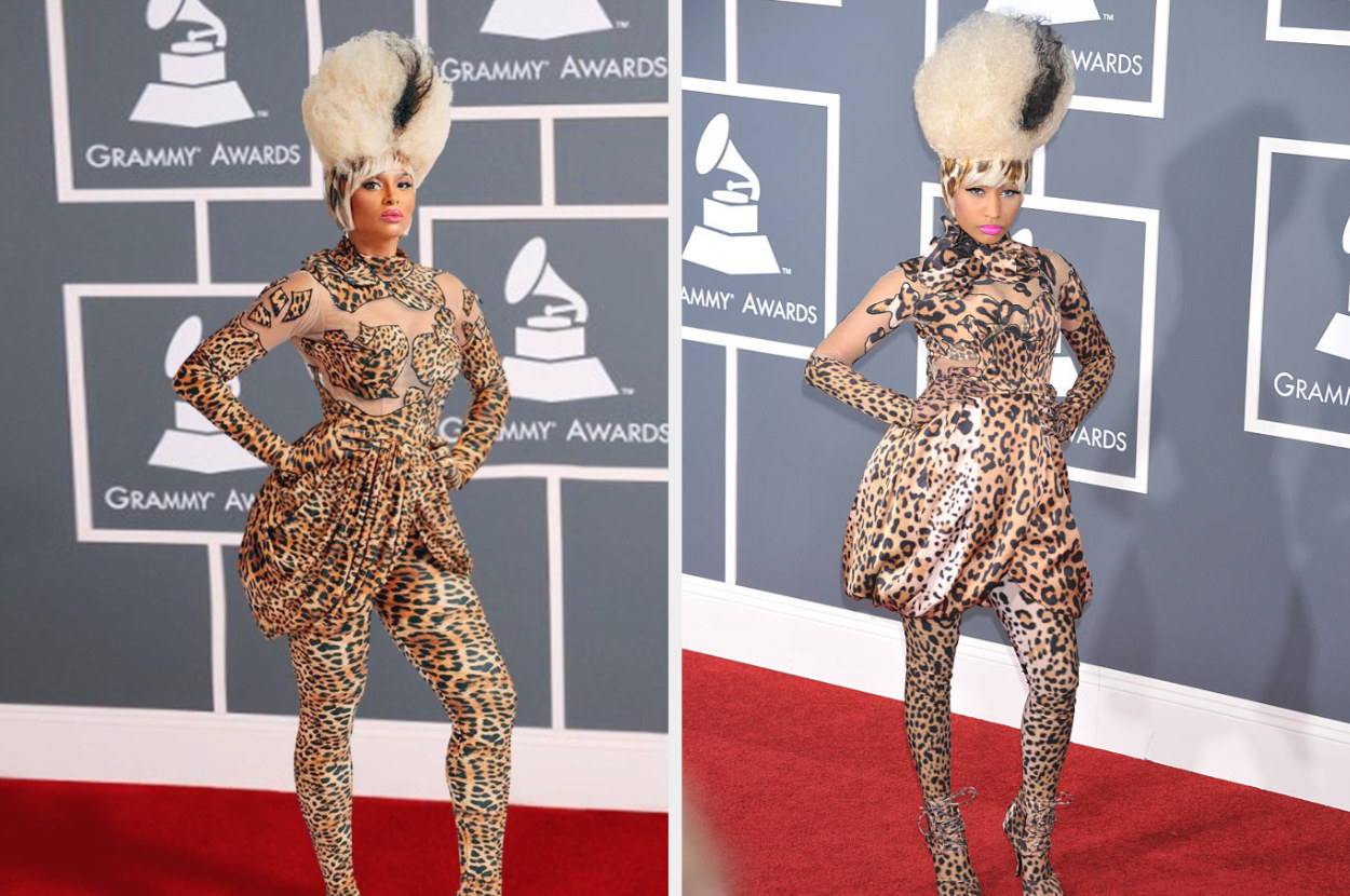 Ciara as Nicki Minaj in an animal-print dress and tall wig, and the real Nicki in the same outfit