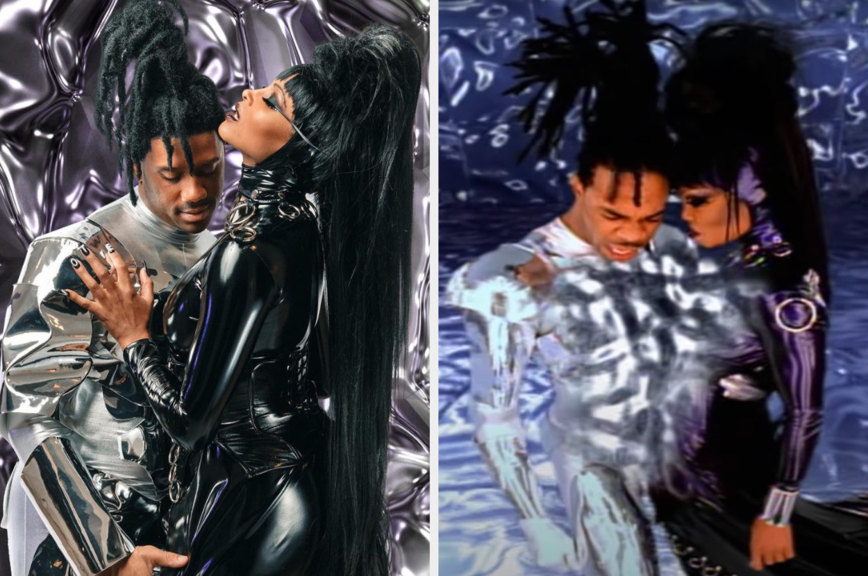 Ciara and Russell as Janet and Busta Rhymes in metallic, shiny outfits, and the real Janet and Busta Rhymes in similar outfits