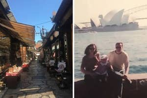 Side by side image of beautiful street and a young family in front of the Sydney Opera House