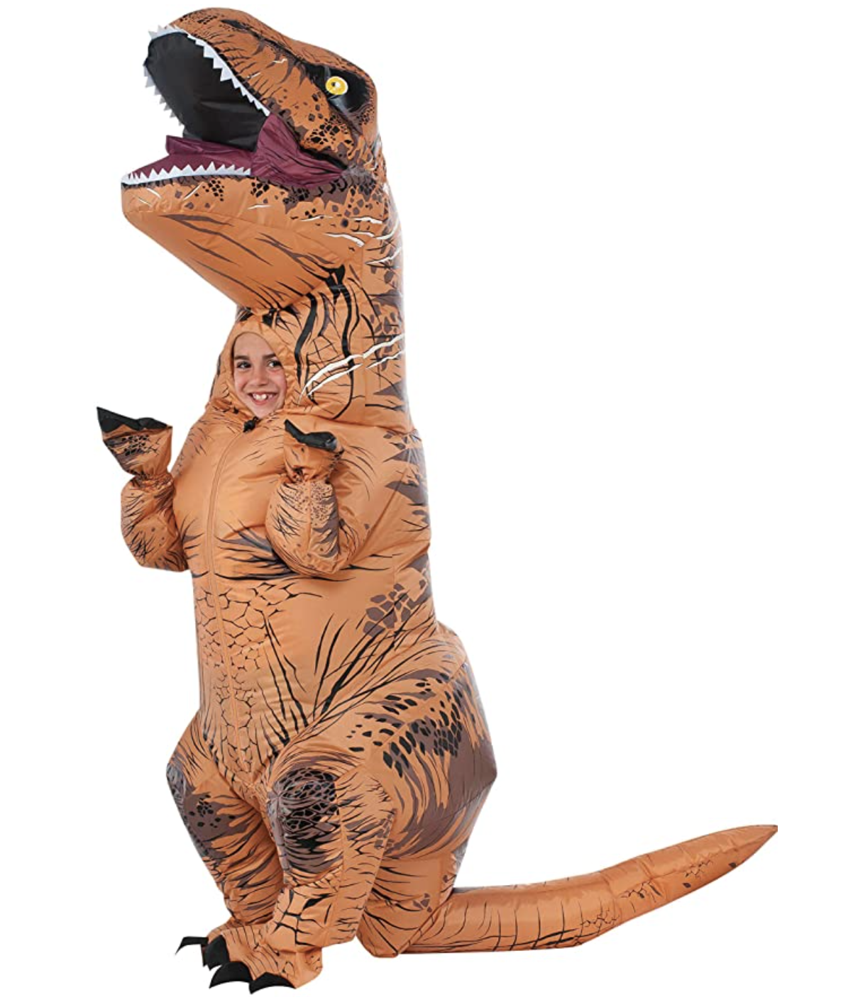 A child's face peeks out of an inflatable dinosaur costume