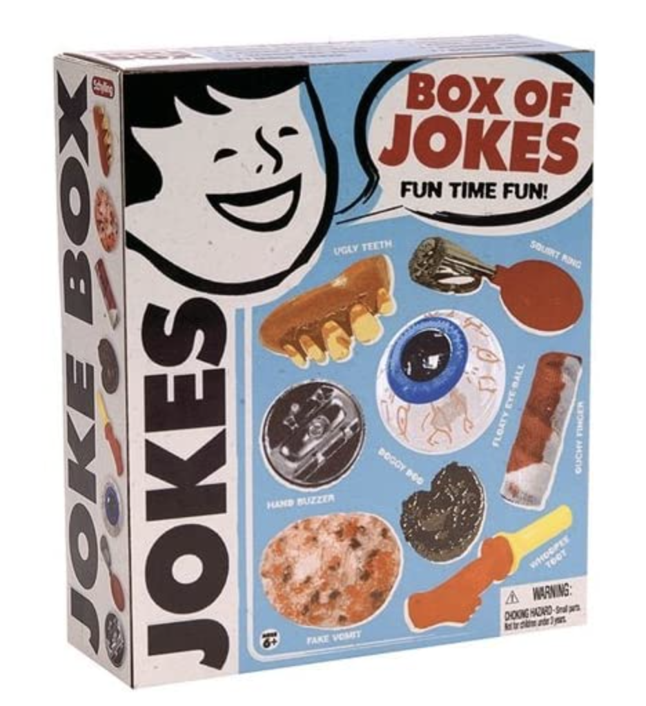A box full of jokes like a whoopi cushion and hand buzzer