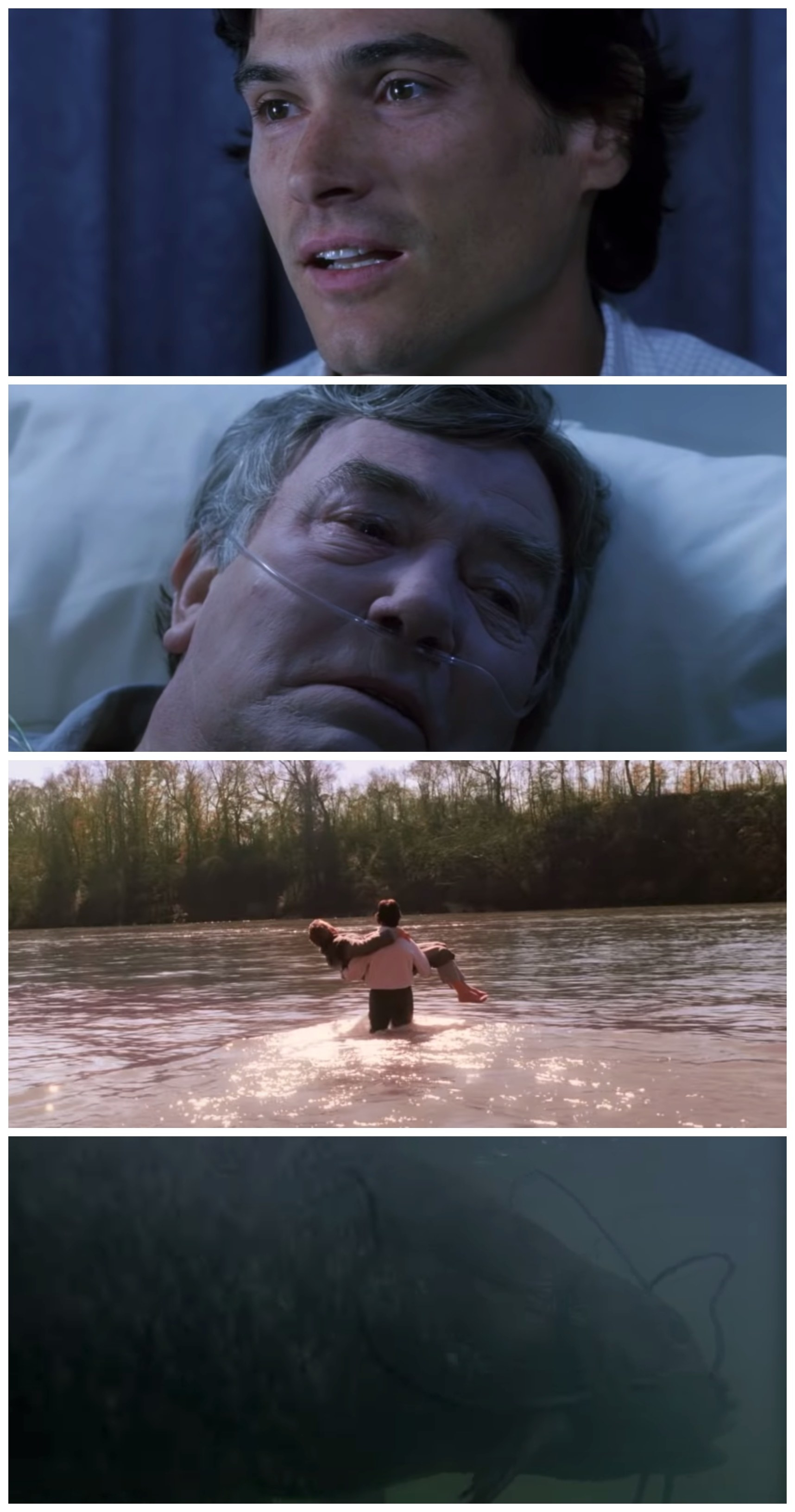A collage of Will talking to his father in the hospital and imagining the dream sequence of taking him to the river